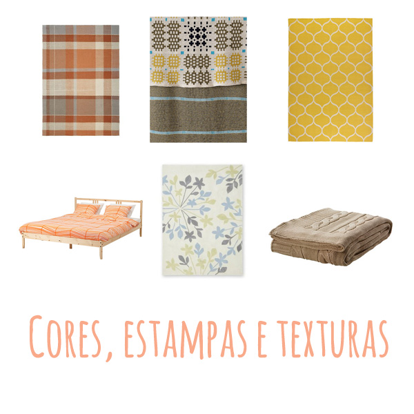 Tapete xadrez, Next; manta, M&S; tapete amarelo, Ikea; conjunto de cama laranja, Ikea; tapete folhas, Next; manta de tricô, Ikea;