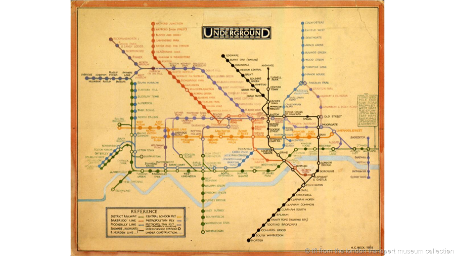 Mapa do metrô de Londres Harry Beck 1931