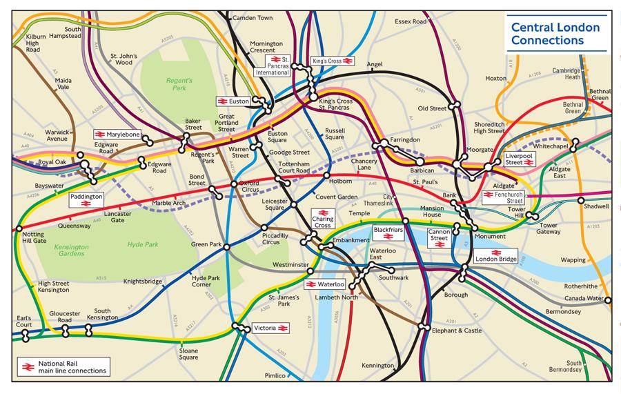 Mapa geograficamente correto do metrô de Londres - central