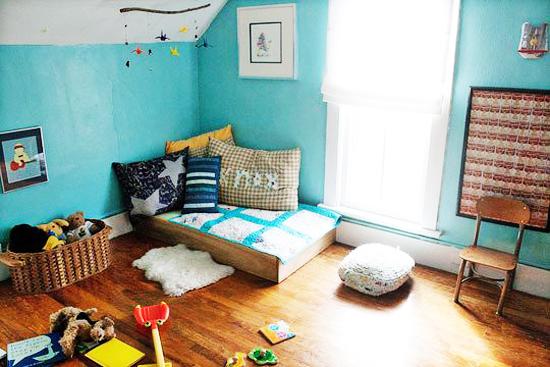 quartos montessori inspiração azul