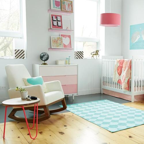 quartos de bebê turquesa e rosa