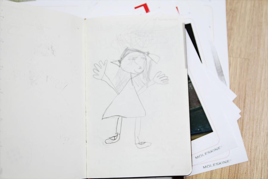 Moleskine Voyageur por dentro desenho da Lily
